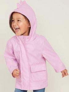 Hooded Dinosaur Critter Rain Jacket for Toddler Girls