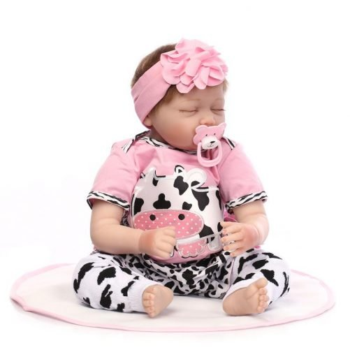 """22"""" Mini Cute Simulation Sleeping Baby in Cow Pattern Clothes Pink"""