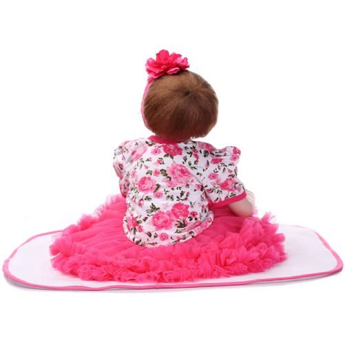 """22"""" Mini Cute Simulation Baby in Floral Lace Dress Red"""