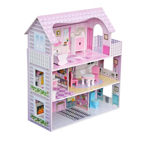 Large Children's Wooden Dollhouse With Furniture