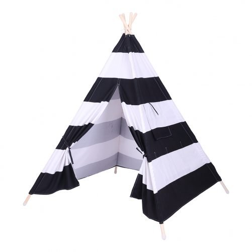 Children Teepee Tent with Small Coloured Flags roller shade and pocket Black and White Stripes