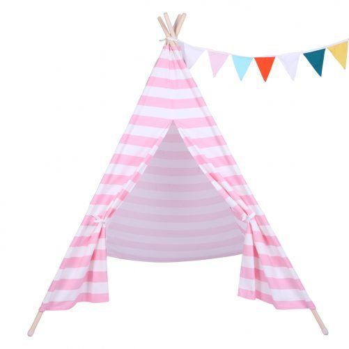 Children Teepee Tent with Small Coloured Flags roller shade and pocket Pink and White Stripes