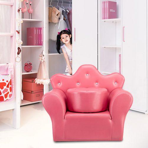 Kid's Sofa PVC Princess Mini Sofa Bright Rose Red with Ottoman