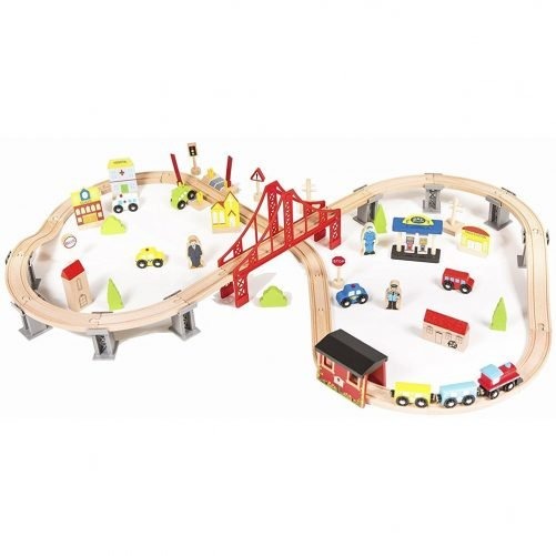 70Pcs Wooden Train Set Multicolor Learning Toy