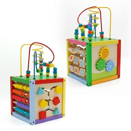 8 x 8 Inch Wooden Learning Bead Maze Cube Multicolor