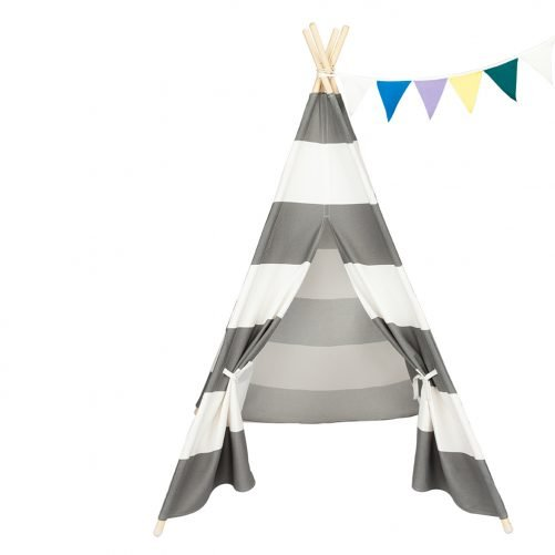 4Pcs Wooden Poles Teepee Tent for Kids Gray and White Stripes