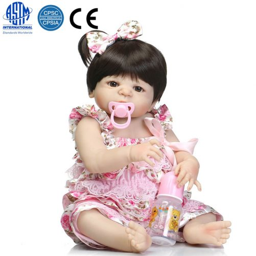 """22"""" Cute Simulation Silicone Baby Girl in Suspenders"""