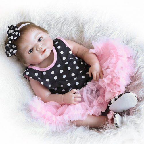 """23"""" Reborn Baby Doll in Dots Pattern Dress"""