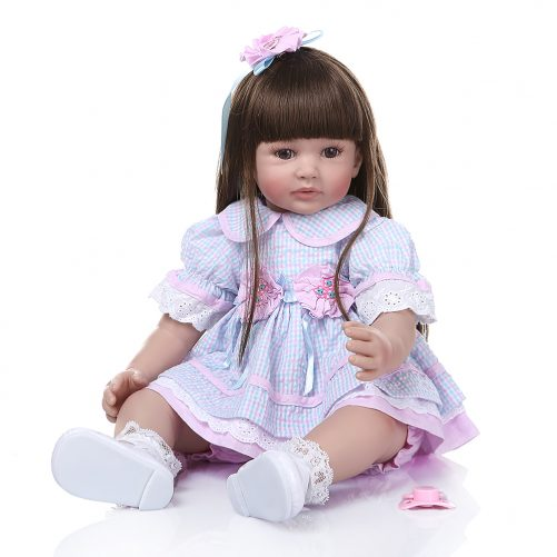 "24"" Beautiful Simulation Baby Long Hair Girl Wearing Blue Purple Plaid Skirt"