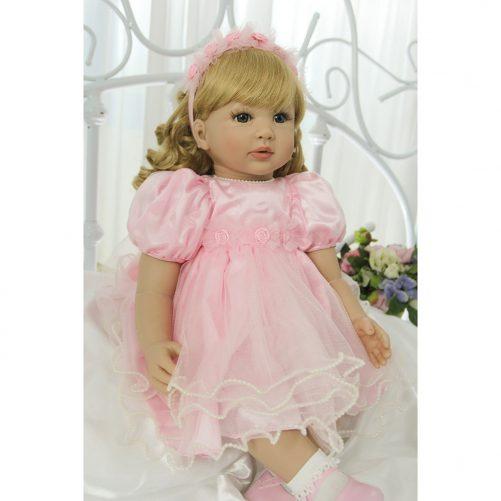 "24"" Beautiful Simulation Baby Golden Curly Girl Wearing Pink Princess Dress"