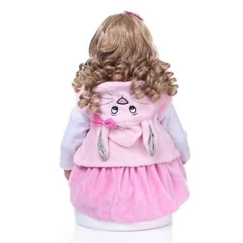"""24"""" Beautiful Simulation Baby Golden Curly Girl Wearing Pink Rabbit Clothes"""