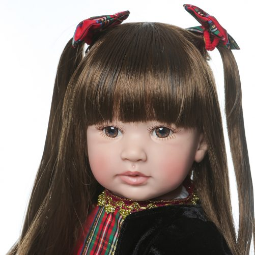 """24"""" Beautiful Simulation Baby Long-Haired Girl Wearing a Christmas Plaid Skirt"""