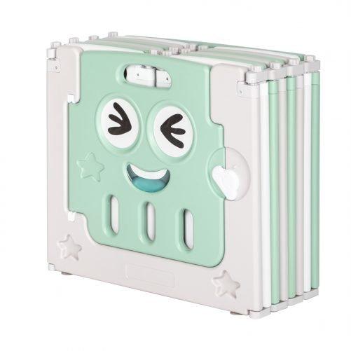 14 Panel Baby Playpen Green-White