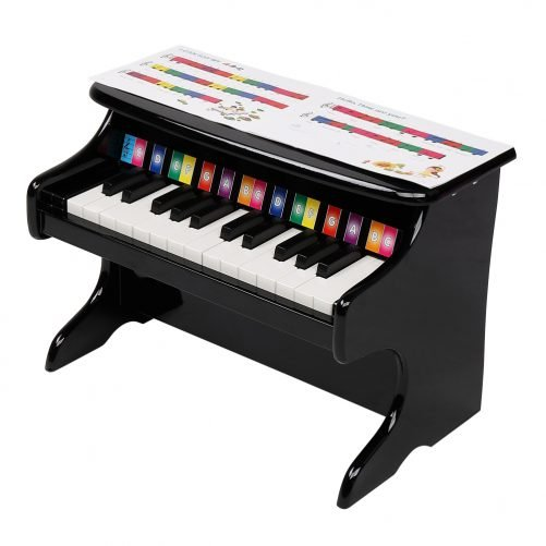 Wooden Toys: 25-key Children's Wooden Piano / Vertical (without Chair) Mechanical Sound Quality Black