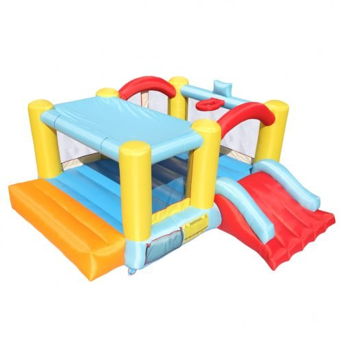 Bounce House Inflatable Jumping Castle A Basketball Hoop With Ball And A Slide