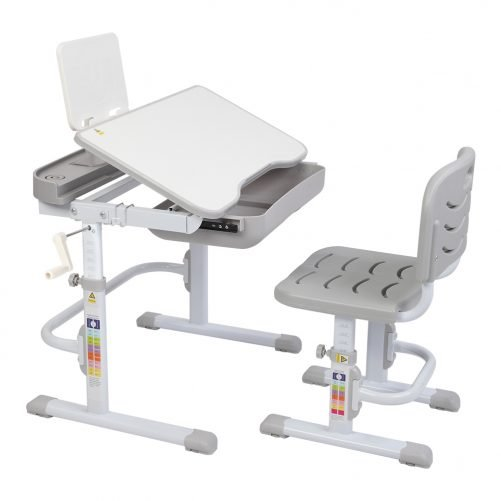 80cm Hand-Operated Lifting Children's Study Table And Chair Gray (With Reading Frame, Without Lamp)