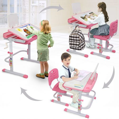 80cm Hand-Operated Lifting Children's Study Table And Chair Pink(With Reading Frame   Without Lamp)