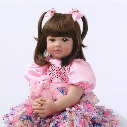 """24"""" Beautiful Simulation Baby Brown Curly Girl Wearing Colorful Print Skirt"""