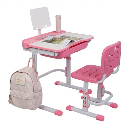 70CM Children Learning Table And Chair Pink (With Reading Stand Without Table Lamp)