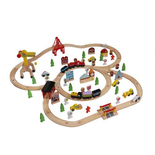 100pcs Wooden Train Set