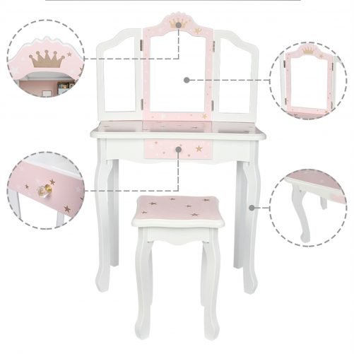 Children's Dressing Table, Pink Star Style