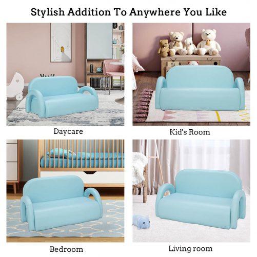 Children's Double Sofa Rainbow Section, Sky Blue
