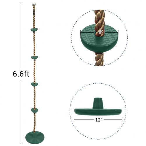 Climbing Rope Swing with Disc, Green