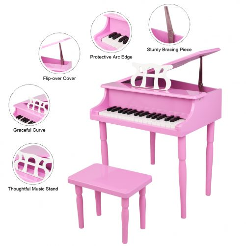 30-key Children's Wooden Piano / Four Feet / with Music Stand, Black