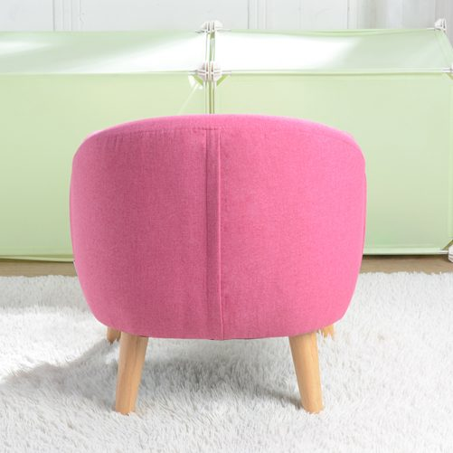 Children's Single Sofa with Sofa Cushion Removable and Washable Linen Rose Red