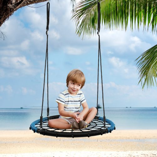 40″ Hexagon Swing with 2 Carabiners & Adjustable Rope  (Blue & Black)
