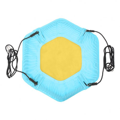40″ Hexagon Swing with 2 Carabiners & Adjustable Rope (Blue & Yellow)