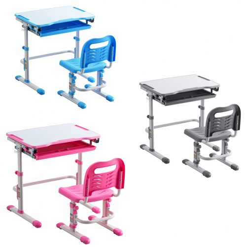 Student Desks and Chairs Set White Lacquered White Surface Blue Plastic