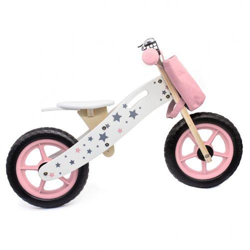 Wooden Balance Bike Star Model With Bag/Bell Pink