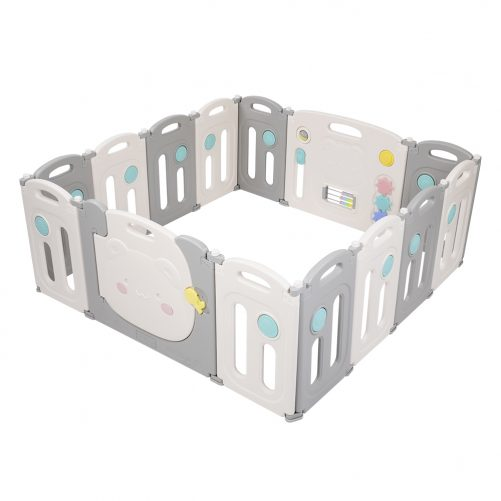 Baby Elephant Foldable Safety Fence, Dark Blue And White