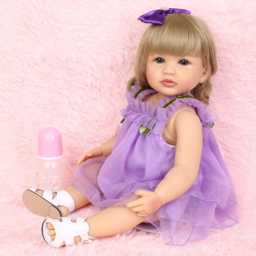 All-Plastic Simulation Doll: 22 Inches Purple Lace Skirt