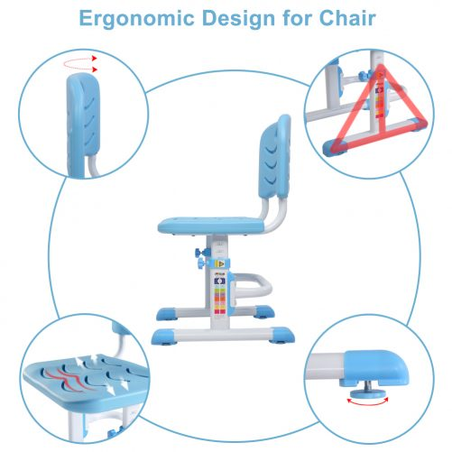 Children's Learning Desk And Chair Blue (With Reading Rack)