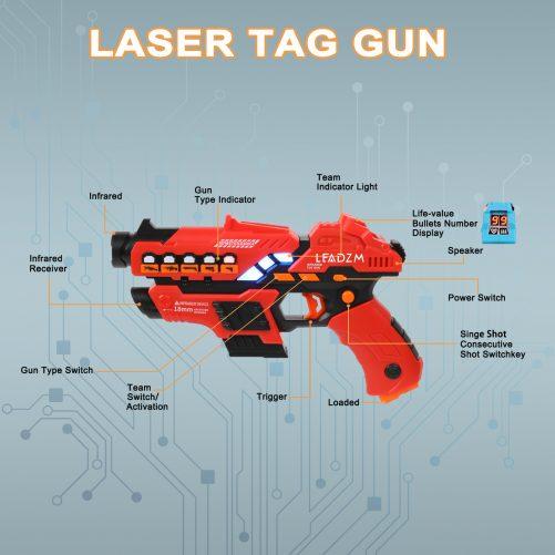 4 Small Laser Guns (Red/Yellow/Blue/Green)