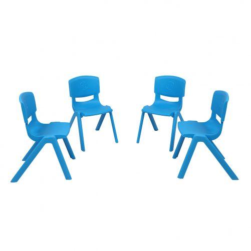 4-Piece Plastic Folding Chair With Backrest Light Blue
