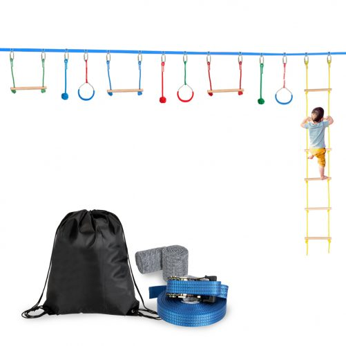 Outdoor Tree Hanging Obstacles Line Accessories Play Set Blue