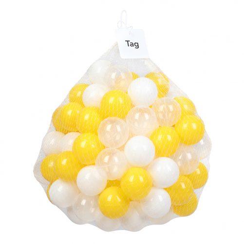 100pcs 5.5cm Fun Soft Plastic Ocean Ball Swim Pit Toys Baby Kids Toys (Yellow white Transparent)