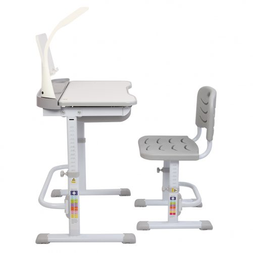 Children Learning Table And Chair Grey (With Reading Stand USB Interface Desk Lamp)
