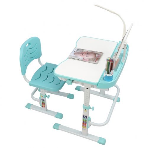 Children Learning Table And Chair Blue-Green (With Reading Stand USB Interface Desk Lamp)