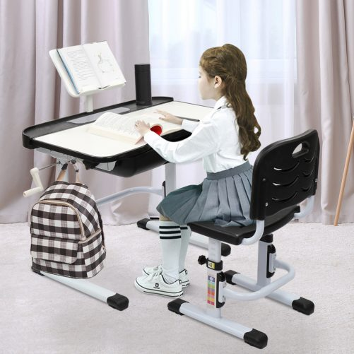 Children Learning Table And Chair Black (With Reading Stand Without Desk Lamp)