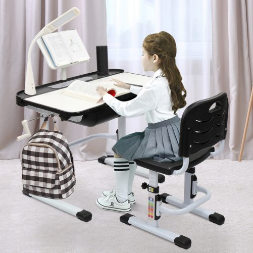 Children Learning Table And Chair Black (With Reading Stand USB Interface Desk Lamp)