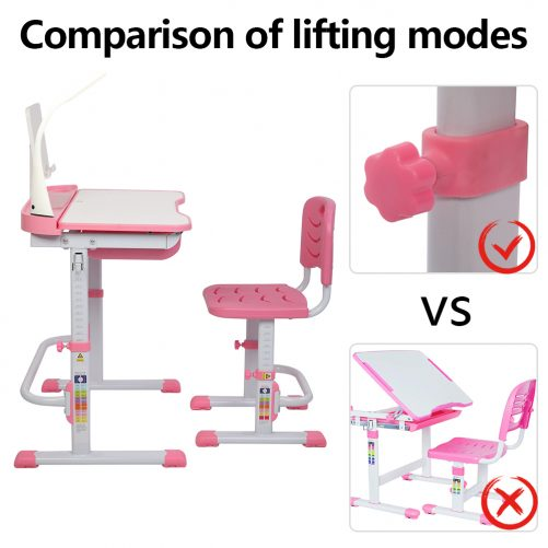 70CM Lifting Table Top Can Tilt Children Learning Table And Chair Pink (With Reading Stand   USB Interface Desk Lamp)