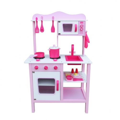 Wooden Kitchen for Girl Cooking Food, Pink