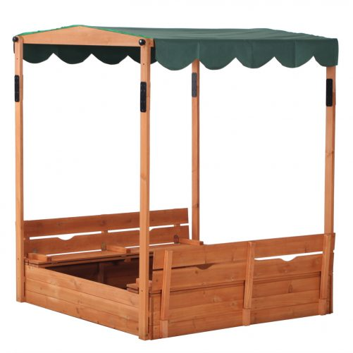 Wooden Sandbox with Convertible Cover