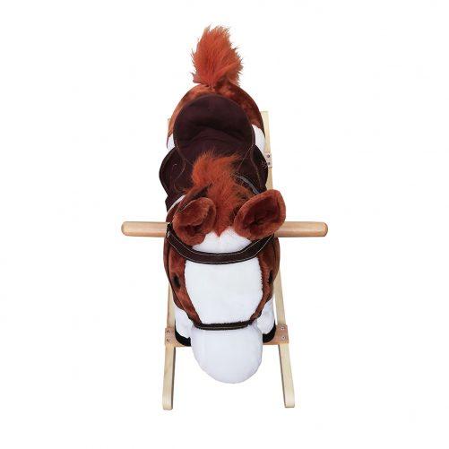 Kids Plush Ride On Pony Rocking Horse with Neigh Sound, Dark Brown