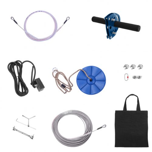 Zip Line Kit for Kids and Adult Hand Shank Disk Safety Rope Wire Rope