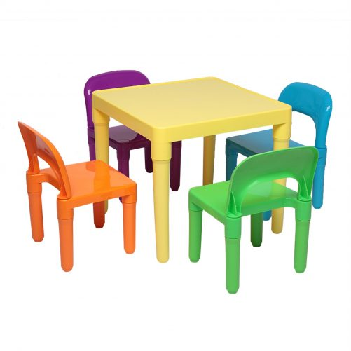 Set of Plastic Table And Chair, One Desk And Four Chairs